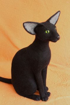 LIFE SIZE Needle Felted Black Oriental CAT pet by AliceFelts, $200.00