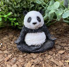 Meditating Panda, Yoga Panda in Lotus Position, Fairy Garden Accessory, Black and White Panda, Japanese Meditation Fantasy Garden, Miniature Zen Garden, Lotus Position, Creative Christmas Gifts, Fairy Gifts, Fairy Garden Supplies, Fairy Figurines, Fairy Garden Accessories, Panda