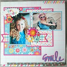#papercrafting #scrapbook #layout idea: Girl Wonder layout by Beth Moloney Using My Mind's Eye 'my girl' collection