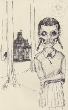 The House in the Woods - Halloween costume, skeleton haunted house illustration