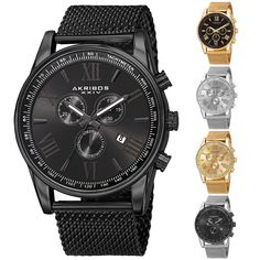 6f570c95cae3 Details about Men s Akribos XXIV AK813 Swiss Chronograph Date Stainless  Steel Mesh Watch