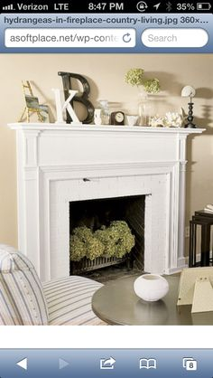 Empty fireplace and nice mantel decor. Need to do ASAP.