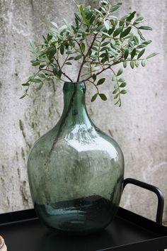 Green Glass bottle Vase €34