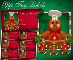 """Gingerbread Man """"Little Gingerbread Men"""" Gift Tag Labels - Digital Download by DinkyPrints"""