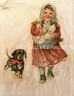 CATS~KITTENS GIRL~DACHSHUND~SNOW~c1916 ANTIQUE VINTAGE POSTCARD ART PRINT~MAGNET