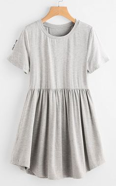 Heather Knit Curved Hem Smock Tee Dress