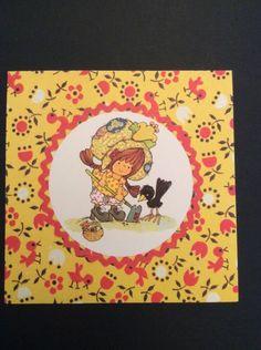 Notecard Greeting Card Vtg Square Girl Bonnet Crow Gardening Flowers Basket 12 | eBay