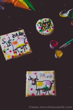 """Holi Cow"" Holi themed sugar cookies | The Novice Housewife"