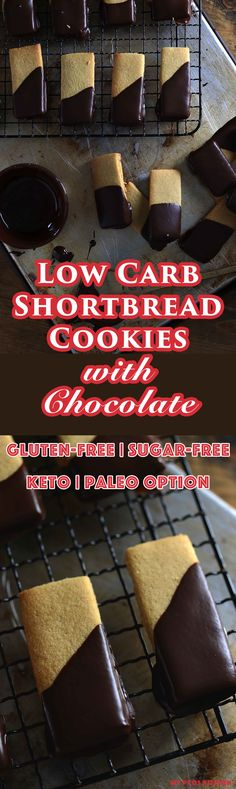 My PCOS Kitchen - Low Carb Shortbread Cookies with Chocolate - These Low Carb Shortbread Cookies are made with a combination of creamy butter, almond flour and oat fiber! Completely sugar-free and gluten-free! via My PCOS Kitchen Sugar Free Desserts, Low Carb Desserts, Gluten Free Desserts, Low Carb Recipes, Real Food Recipes, Paleo Dessert, Stevia Recipes, Healthier Desserts, Healthy Recipes