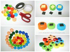 Magnesy z nakrętek - zestaw do układania dla dzieci / Bottle top magnets