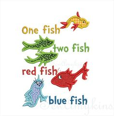 Dr. Seuss Machine Embroidery | ... Fish applique Dr Seuss Two Fish embroidery ... | Books: Seuss/One