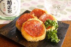 サラミと長芋のパルメザンチーズ焼き