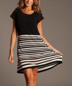 Black & White Stripe Cape-Sleeve Dress