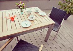 Se apropie sezonul de iesit pe terasa Outdoor Furniture, Outdoor Decor, Decking, Table, Home Decor, Decoration Home, Room Decor, Tables, Home Interior Design