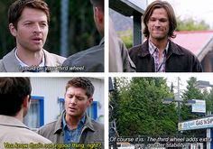 "I think that Sam's ""Aw, Castiel"" face is one of the best expressions ever. And they cut to it every time! Cas says something ridiculous > Cut to Sam smiling benevolently > Cut to Dean looking bewildered"