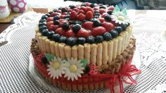 cake with strawberry and blueberry