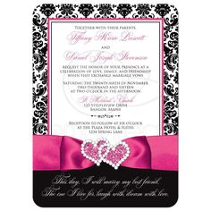 Great black and white damask wedding invitations with fuchsia pink ribbon and jewelled joined hearts brooch Silver Wedding Invitations, Damask Wedding, Ribbon Wedding, Purple And Silver Wedding, Magenta Wedding, Wedding Colors, Trendy Wedding, Wedding Ideas, Dream Wedding