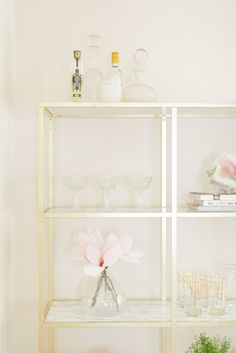 Gilded shelves: http://www.stylemepretty.com/living/2014/07/07/ikea-hack-gold-marble-shelves/