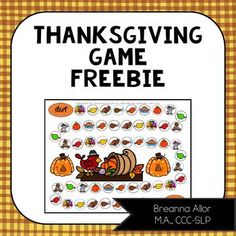 Thanksgiving Game Freebie Thanksgiving Songs, First Game, Move Forward, Therapy Ideas, Speech And Language, Speech Therapy, Board Games, Career, November