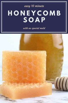 How to make honeycomb melt and pour soap. This tutorial uses clear glycerin soap base and real honey additives. This simple techniques is easy with no special molds either. Get inspiration for this handmade diy soap ideas and a new designs for soap m Handmade Soap Recipes, Soap Making Recipes, Handmade Soaps, Clear Glycerin Soap, Soap Melt And Pour, Tutorial Diy, Honey Soap, Home Made Soap, Diy Craft Projects