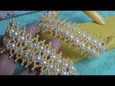 Cabedal de pérolas luxo - YouTube Jewelry Patterns, Beading Patterns, Cross Stitch Flowers, Cross Stitch Patterns, Bead Jewellery, Beaded Jewelry, Decorating Flip Flops, Cute Patterns Wallpaper, Beaded Bags