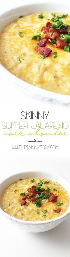 Skinny Summer Jalapeño Corn Chowder (Crock Pot) - Using up seasonal corn, potatoes, and chives in a lighter way! http://TheSkinnyFork.com
