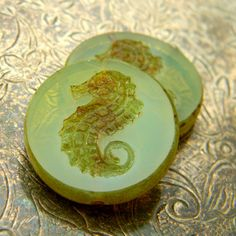 Cal del Mar 2 Czech Glass Seahorse Coins 23mm by TheBeadApothecary (Craft Supplies & Tools, Jewelry & Beading Supplies, Beads, czech, picasso, large, focal, pendant, 23mm, seahorse, sea, aqua, lime, green, milky, opaline)