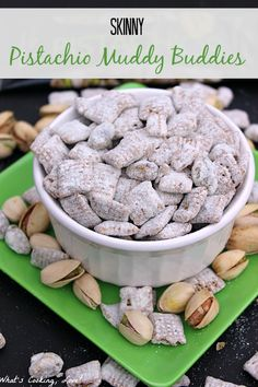 Skinny Pistachio Muddy Buddies. A healthier version of muddy buddies with a great pistachio flavor. This is an easy and delicious snack. #muddybuddies #skinny #pistachio