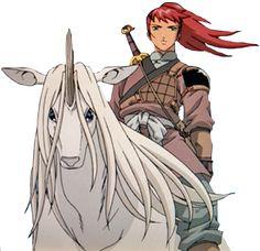 Youko Nakajima revealing herself as the Queen of Kei, while riding Keiki in his Kirin form, in a rebellion in Twelve Kingdoms… via wikia.