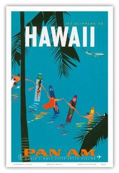 Pan American Airlines (PAA) - Jet Clippers to Hawaii - Hawaiian Surfers Linking Hands - Vintage Hawaiian Travel Poster by Aaron Fine c.1959 - Hawaiian Master Art Print - 12 x 18in Pacifica Island Art,http://www.amazon.com/dp/B0080JIJ1K/ref=cm_sw_r_pi_dp_QJr-sb1CD83S1D60