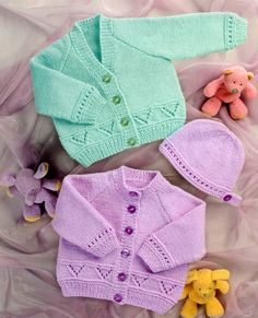 PDF Knitting Pattern - Baby's/Childs Cardigans & Hat 12-24 Chests - Instant Download