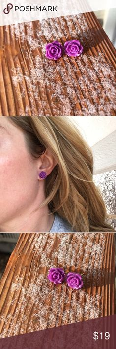 "Wild Violet Rose Stud Earrings Brand new and made with love in Colorado! Hot or neon purple Resin rose cabochons permanently attached to alloy free silvertone stud earrings with posts. If you can't have flowers in your hair, have them in your ears! Fun, funky and on trend. Roses are about .5"" in diameter. wildarrow Jewelry Earrings"