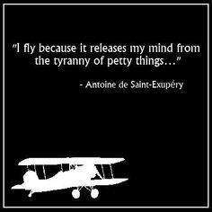 I fly because it releases my mind from the tyranny of petty things - Saint-Exupery Aviation Logo, Aviation Quotes, Aviation Humor, Aviation World, Civil Aviation, Aviation Insurance, Pilot Quotes, Writer Quotes, Pilot Humor