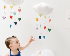 Items similar to Luxe Heart Bright Rainbow Cloud Mobile - Childrens fabric mobile sculpture decoration for baby nursery- Free US Shipping on Etsy Rainbow Cloud, Rainbow Heart, Baby Crib Mobile, Baby Cribs, Project Nursery, Nursery Decor, Nursery Mobiles, Baby Decor, Nursery Ideas