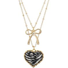 Betsey Johnson Necklace, Zebra Crystal Heart Double Row Necklace ($35) ❤ liked on Polyvore featuring jewelry, necklaces, accessories, collares, women, betsey johnson jewelry, crystal necklace, american jewelry, crystal bow necklace and heart shaped crystal necklace