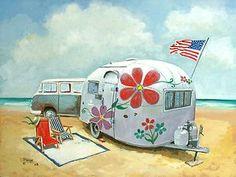 Airstream Casita VW Bus Vintage Travel Trailer RV Art | eBay