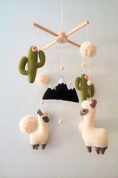 Llama and Cactus Nursery Mobile, Gender Neutral Nursery Design, Baby Mobile Felt Cactus and Alpaca, Nursery decor, Boho Baby Nursery, Baby Crib Mobile, Baby Shower Gift #pregnancy #nursery #nurserydecor #babies