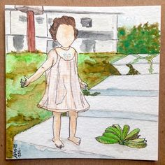 Liliana en casa de abuela. #memories #watercolors