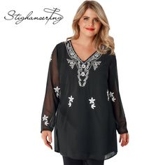 1b93c48a287 Click to Buy    Stighanserting Plus Size Women Solid Black Shirt Contrast  Color.