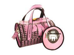 Borsa bauletto Paul Meccanico colori rosa  e nero fantasia scacchi.