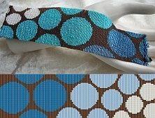 Loom or 3 Drop Odd Peyote Pattern - Progressive Blue Circles Cuff Bracelet.