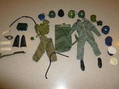 LOT 1966 GI Joe Pilot Suit Helmet Backpack Shoes Pants Sash Goggle Belt Ammo Hat #Hasbro