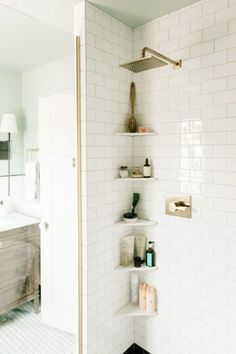 10 Best Simple Space Saving Bathroom Solutions Small bathroom storage Bathroom ideas small Bathroom shelves Storage ideas for small spaces Bathroom organization ideas Towel storage Small Bathroom Shelves, Shower Shelves, Simple Bathroom, In Shower Storage, Navy Bathroom, Shower Rack, Brown Bathroom, Small Shelves, Glass Bathroom