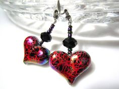 Heart Earrings Valentine Jewellery with Graphic Paint Swirl Acrylic Heart Beads in Black and Red