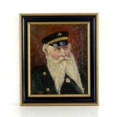 Vintage, original oil painting on canvas. It is a well executed and exceptionally characterful portrait depicting a Norwegian sailor (possibly a Naval Officer) with a very impressive beard. Signed & dated lower left - E Olsen 1919 (attributed to the listed artist, Einar Olsen, Norwegian 1876 - 1950) The painting is in good condition with slight bevelling to the canvas, and an area of stable, light craquelure. It is presented in what appears to be the original, ebonised and gilt wood frame...