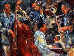 """Daily Painters Abstract Gallery: Original Jazz Art Music Abstract Painting """"Hot Jazz Three"""" by Debra Hurd"""