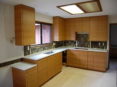 Bamboo Kitchen Cabinets Design With Clean And Empty
