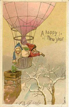 """"""" Luck For The New Year """" Vintage 1906 Post Card. Elves dropping mistletoe down the chiminey for luck. An embossed surface, an UDN-USD-PM 1907, and in Excellent condition. Karodens Vintage Post Cards."""