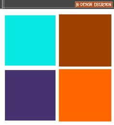 Split Complemenatry Colour Scheme Orange And Dark Brown With Contrasting Blue Green Aqua Purple