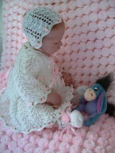 Knitting pattern for lovely lacy dress bonnet by dasheledesigns, £3.00
